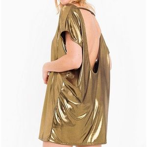 AMERICAN APPAREL GOLD TUNIC SHORT METALLIC DRESS